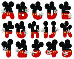 MICKEY Alphabet & Numbers - Machine Applique Embroidery - Instant Digital Download
