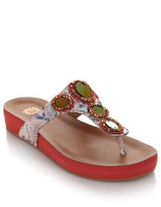 Give your casual summer attire a glam update with these Yellow Box embellished sandals!