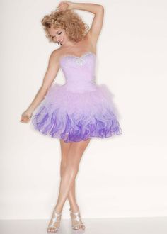 Short Purple Ombre Strapless Tulle Dress - Sticks & Stones by Mori Lee 9199 - RissyRoos.com