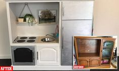 Mother-of-two transforms old $80 TV cabinet  into an incredible play kitchen