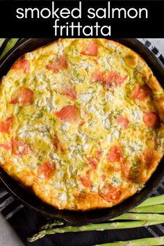 Smoked Salmon Frittata is an easy and impressive egg dish that is filled with smoked salmon, fresh dill, asparagus, onion, Gruyere cheese, and goat cheese – so much flavor!!