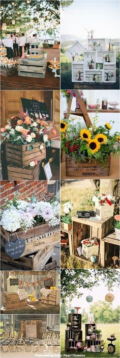 Rustic country wooden crate wedding decor ideas / http://www.deerpearlflowers.com/country-wooden-crates-wedding-ideas/