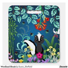 Woodland Skunk Seat Cushion - Stadium & Seat Cushions Gift Idea. Custom Lapel Pins, Hp Laptop Skin, Custom Tissue Paper, Floor Mats, Party Hats, Small Gifts, Woodland, Vibrant Colors, Art Pieces
