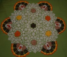 Thanksgiving Turkey's and Leaves Crochet Doily Pattern by vjf25, $4.95