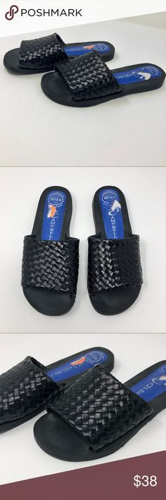 Jeffrey Campbell Sandals Slip On Open Toe Shoe • Brand:Jeffrey Campbell • Size:5.5 • Material: not listed  • Previously owned, excellent used condition   • Other info: basket weave top Jeffrey Campbell Shoes Sandals