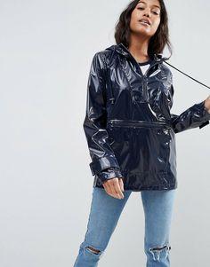 ASOS Over the Head Rain Mac in Vinyl | ASOS Asos Online Shopping, Online Shopping Clothes, Latest Fashion Clothes, Fashion Online, Nylons, Blue Raincoat, Pvc Raincoat, Rain Fashion, Rain Mac