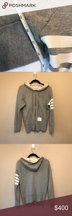 Thom Browne Grey Cotton Hoodie Thom Browne Grey Cotton Hoodie. Size 1. Normal wearing signs. Welcome bundle and offer. No swap or trade. Thanks😊 Thom Browne Jackets & Coats