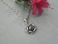 Tiny Rose Necklace Minimal Everyday Jewelry by Simply2Charming