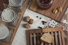 Walnut serving setwalnut serving tray with by JaraKacaHandmade Serving Board, Wooden Crafts, Glass Jars, Tray, Organic, Dining, Wood Crafts, Glass Pitchers, Food