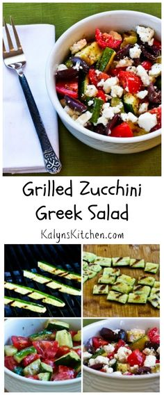 Replace the cucumber in Greek Salad with grilled zucchini and you'll have this Grilled Zucchini Greek Salad, something that's a perfect side dish for summer holiday parties.  I've been making this since 2005 and it's always a hit! #LowCarb #GlutenFree #SouthBeachDiet [from KalynsKitchen.com]