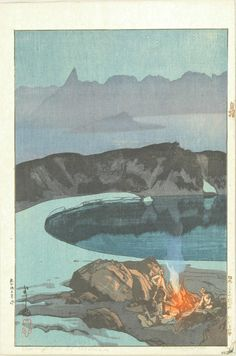 YOSHIDA HIROSHI  Washibadake no yaei / Camping at Washiba, from Nihon Arupusu junidai no uchi (Twelve scenes in the Japan Alps), signed in pencil and in brush, with jizuri seal, 1929  Harashobo Ukiyoe Online Selection