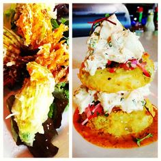 Left: #zucchini blossom stuffed with mozzarella cheese and anchovies. Right: fried green tomatoes with shrimp salad @ Private Social