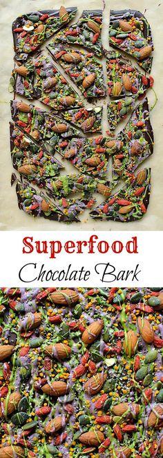 Superfood chocolate bark - a healthy sweet treat- dark chocolate with almonds goji berries seeds bee pollen
