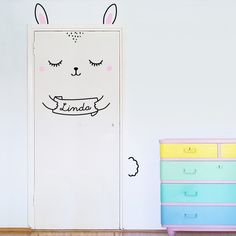 Anni the Custom Bunny Door decal / Wall decal for doors windows or closets / Nursery decor / Rabbit Vinyl Sticker EUR) by MadeofSundays Decoration Inspiration, Room Inspiration, Wall Stickers, Vinyl Decals, Apartment Nursery, Deco Kids, Animal Wall Decals, Wall Decals For Bedroom, Kid Spaces