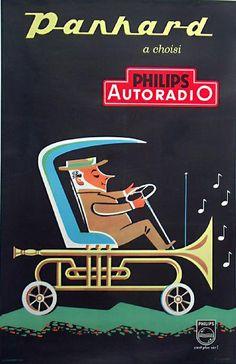 Panhard a choisi Philips Autoradio (Araba radyosu) - 1950 vintage ad. Pub Vintage, Vintage Labels, Vintage Cards, Vintage Advertising Posters, Vintage Advertisements, Vintage Posters, Radios, Ode An Die Freude, Antique Radio