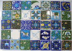 We bought some Blue Pottery tiles in Jaipur for our new kitchen. The tiles are approx square each. They are all hand painted. Painting Ceramic Tiles, Ceramic Mosaic Tile, Ceramic Art, Blue Pottery Jaipur, Pakistan, Kitchen Wall Tiles, Kitchen Backsplash, India Colors, Farmhouse Furniture