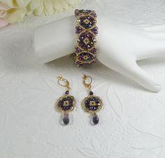 Geflochtene Armband und Ohrringe Set violett und von IndulgedGirl