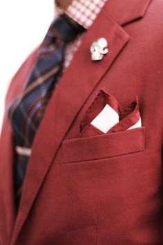 Mens Fashion - Red blazer, tartan tie, check shirt, skull lapel pin, white and red pocket square