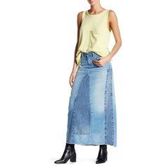 Current/Elliott The Reconstructed Long Skirt (325 PEN) ❤ liked on Polyvore featuring skirts, hi low skirt, ankle length skirt, floor length skirt, blue hi low skirt and blue skirts