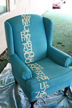 "Simply Spray Upholstery Spray    I don't care for the letters at all but love the idea of upholstery paint...never knew about it.  I can imagine all the possibilities now with ""finds"" that don't match but now can"