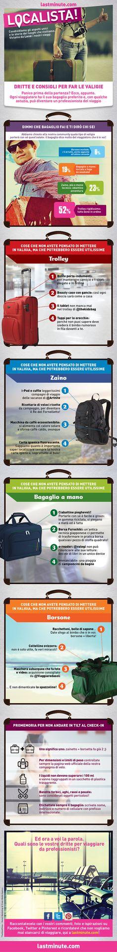 Panico prima della #partenza? Ecco, appunto. Ogni #viaggiatore ha il suo #bagaglio preferito e, con qualche astuzia, può diventare un professionista del #viaggio! #valigie #trolley #zaino #bagaglioamano #borsone #checkin #travel #lastminute #moodgraphic #vacanze #estate #offerte #lowcost