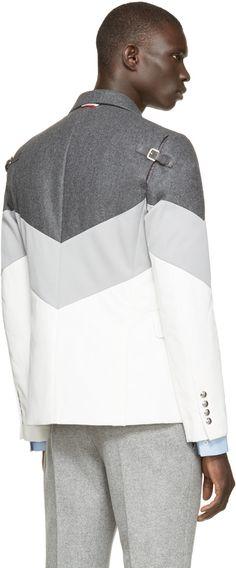 Moncler Gamme Bleu Grey & White Down Runway Blazer