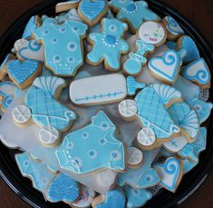 Baby blue shower cookies
