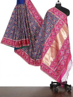 Blue and Pink Pure Silk Saree with Resham Work