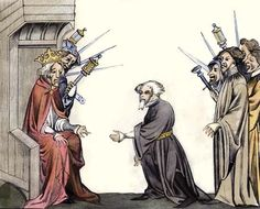 Charlemagne receives oath of fidelity and homage from baron Colored engraving based on 14th-century manuscript miniature. via Norse Mythology Blog