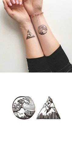 Simple Geometric Nature Surf Mountain Wrist Tattoo Ideas for Women - Ideas geom. - Simple Geometric Nature Surf Mountain Wrist Tattoo Ideas for Women – Ideas geométricas simples d - Mini Tattoos, Trendy Tattoos, Body Art Tattoos, Sleeve Tattoos, Ocean Tattoos, Wave Tattoos, Circle Tattoos, Triangle Tattoos, Tattoo Diy