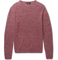 A.P.C. Space-Dyed Cashmere Sweater. A.P.C.'s space-dyed sweater is knitted from soft Italian-sourced burgundy and white cashmere that owes its marled effect to the two tones. This lightweight yet insulating piece is perfectly suited to year-round wear. Complement the hue with indigo denim or army-green trousers.