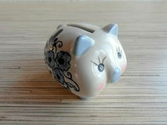 Small Vintage Porcelain Piggy Bank Rosy Cheek by VintagePearlHunt