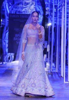 India Bridal Fashion Week 2013 - Tarun Tahiliani stunning silver Indian bridal lehnga