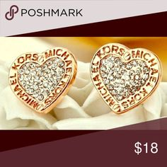 Michael Kors earrings Rose Gold!  Perfect for Valentines Day! Heart shaped MK earrings! Brand new! Michael Kors Jewelry Earrings