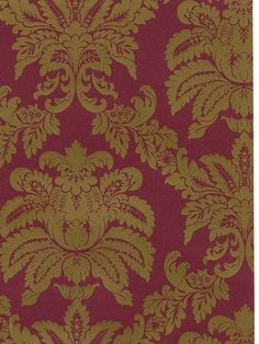 A stunning Burgandy and Gold Damask Wallpaper from the Damask Stripes & Toile Library Book at AmericanBlinds.com #wallcovering