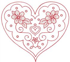 Redwork Embroidery valentine heart - would be pretty as red work embroidery. Embroidery Hearts, Hand Embroidery Patterns, Vintage Embroidery, Embroidery Applique, Cross Stitch Embroidery, Machine Embroidery Designs, Red Work Embroidery, Embroidery Thread, Embroidery Transfers