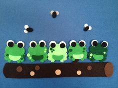 5 Green & Speckled Frogs Felt Board Set by momanddotsfeltshop