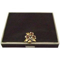 Art Deco Enamel Ruby Diamond Silver Compact/Box