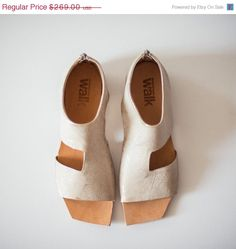 20% OFF SALE Golden leather sandals Flat cut by WalkByAnatDahari