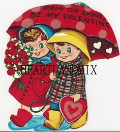 Vintage Valentine Boy and Girl under the by VintageDigitalShop2, $2.50