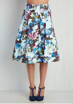 Greenhouse Grandeur Skirt in Sky. Your green thumb has been known to influence your prettiest outfits, and this sky blue midi skirt fittingly strikes your fancy. #blue #modcloth