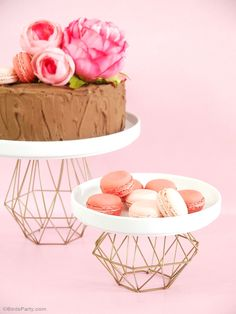 DIY Geometric Metallic Cupcake and Cake Stand - BirdsParty.com @birdsparty