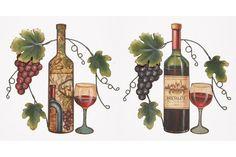 Set of 2 Metal Wall Art Vintage Bottle Glassware Grape Vine Kitchen Decor 52360