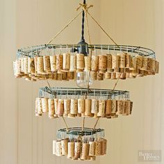 Don't let your cork collection gather dust -- let them dazzle in the form of a rustic chandelier instead.