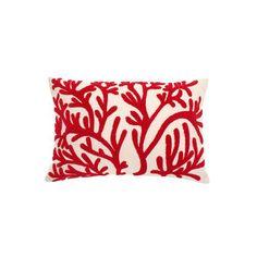 Cuscino rettangolare ricamo corallo