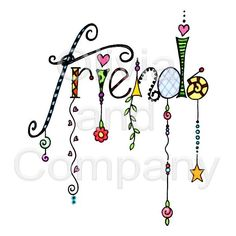 Friends Dangles is an original watercolor illustration with a transparent background. Tangle Doodle, Doodles Zentangles, Zen Doodle, Doodle Art, Doodle Lettering, Creative Lettering, Doodle Patterns, Zentangle Patterns, Doodle Drawings