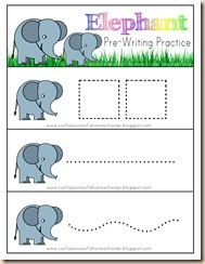 Elephant Pre-Writing Practice: I laminate this and then use with Expo Dry Erase Markers. You can leave the pages whole, or cut along the lines and hole punch in the upper left corner, then bind with a key ring for a mini-book!
