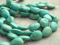 Turquoise gemstone drop beads   full strand   15 by BeadsnFinds