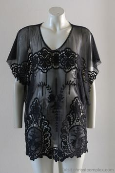 Kaftan Short Sleeve Gothic Goth Beach Resort Summer Black Top Shirt Blouse. Special Etsy Price. $89.00, via Etsy.
