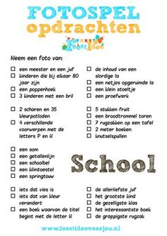 Een opdrachten spel voor op school. Leuke activiteit voor samenwerken en creatief denken. Download gratis. First Day Of School, Back To School, School Stuff, Photo Scavenger Hunt, Scavenger Hunts, Co Teaching, Super Party, Scholarships For College, Hygiene